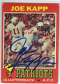 JOE KAPP BOSTON PATRIOTS AUTOGRAPHED VINTAGE FOOTBALL CARD #40113O