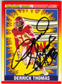 DERRICK THOMAS KANSAS CITY CHIEFS AUTOGRAPHED FOOTBALL CARD #40613E
