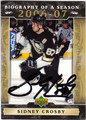SIDNEY CROSBY PITTSBURGH PENGUINS AUTOGRAPHED ROOKIE HOCKEY CARD #40513i