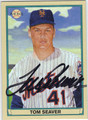 TOM SEAVER NEW YORK METS AUTOGRAPHED BASEBALL CARD #41113i