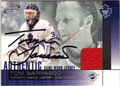 TOM BARRASSO TORONTO MAPLE LEAFS GOALTENDER AUTOGRAPHED PIECE OF THE GAME HOCKEY CARD #41113J