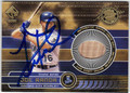 JOE RANDA KANSAS CITY ROYALS THIRD BASE AUTOGRAPHED PIECE OF THE GAME BASEBALL CARD #41213E