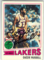 CAZZIE RUSSELL LOS ANGELES LAKERS AUTOGRAPHED VINTAGE BASKETBALL CARD #41313C