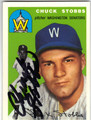 CHUCK STOBBS WASHINGTON SENATORS AUTOGRAPHED BASEBALL CARD #41413C
