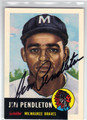 JIM PENDLETON MILWAUKEE BRAVES AUTOGRAPHED BASEBALL CARD #41813D