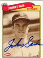 JOHNNY SAIN BOSTON BRAVES AUTOGRAPHED BASEBALL CARD #42413H