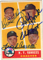 FRANK CROSETTI, BILL DICKEY, RALPH HOUK & ED LOPAT 4 SIGNATURE VINTAGE BASEBALL CARD #42813E