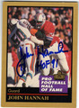 JOHN HANNAH NEW ENGLAND PATRIOTS AUTOGRAPHED FOOTBALL CARD #42813i