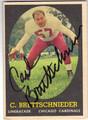 CARL BRETTSCHNIEDER CHICAGO CARDINALS AUTOGRAPHED VINTAGE ERROR FOOTBALL CARD #42913H