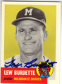 LEW BURDETTE MILWAUKEE BRAVES AUTOGRAPHED BASEBALL CARD #50913J