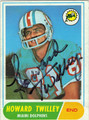 HOWARD TWILLEY MIAMI DOLPHINS AUTOGRAPHED VINTAGE ROOKIE FOOTBALL CARD #51113i