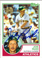 JOE RUDI OAKLAND ATHLETICS AUTOGRAPHED BASEBALL CARD #51213A