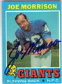 JOE MORRISON NE WYORK GIANTS AUTOGRAPHED VINTAGE FOOTBALL CARD #51413B