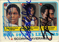 NATE ARCHIBALD, KAREEM ABDUL-JABBAR & SPENCER HAYWOOD TRIPLE AUTOGRAPHED VINTAGE BASKETBALL CARD #52312i