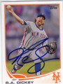 RA DICKEY NEW YORK METS AUTOGRAPHED BASEBALL CARD #52413H