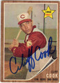 CLIFF COOK CINCINNATI RED AUTOGRAPHED VINTAGE ROOKIE BASEBALL CARD #60513E