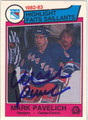 MARK PAVELICH NEW YORK RANGERS AUTOGRAPHED VINTAGE ROOKIE HOCKEY CARD #61313D