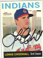 LONNIE CHISENHALL CLEVELAND INDIANS AUTOGRAPHED BASEBALL CARD #61813A