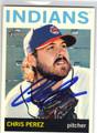 CHRIS PEREZ CLEVELAND INDIANS AUTOGRAPHED BASEBALL CARD #61813H