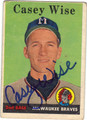 CASEY WISE MILWAUKEE BRAVES AUTOGRAPHED VINTAGE BASEBALL CARD #70413A