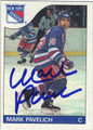 MARK PAVELICH NEW YORK RANGERS AUTOGRAPHED VINTAGE HOCKEY CARD #70113F