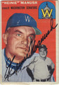 HEINIE MANUSH WASHINGTON SENATORS AUTOGRAPHED VINTAGE BASEBALL CARD #70913G