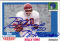 BILLY SIMS AUTOGRAPHED FOOTBALL CARD #71312N