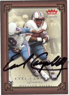 free shipping 40387 ee049 EARL CAMPBELL AUTOGRAPHED FOOTBALL CARD #72011k