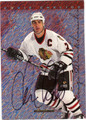 CHRIS CHELIOS CHICAGO BLACKHAWKS AUTOGRAPHED HOCKEY CARD #72412E