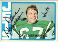 DAVE HERMAN AUTOGRAPHED VINTAGE FOOTBALL CARD #72512E