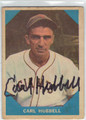 CARL HUBBELL NEW YORK GIANTS AUTOGRAPHED VINTAGE BASEBALL CARD #80313C