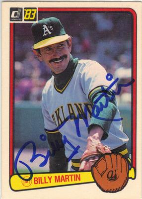 Billy Martin Oakland Athletics Autographed Vintage Baseball Card 80613c