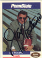 JOE PATERNO PENN STATE UNIVERSITY AUTOGRAPHED FOOTBALL CARD #81613A