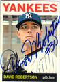 DAVID ROBERTSON NEW YORK YANKEES AUTOGRAPHED BASEBALL CARD #81813G