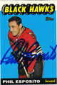 PHIL ESPOSITO AUTOGRAPHED HOCKEY CARD #82112J