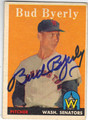 BUD BYERLY WASHINGTON SENATORS AUTOGRAPHED VINTAGE BASEBALL CARD #82213D