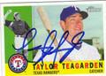 TAYLOR TEAGARDEN TEXAS RANGERS AUTOGRAPHED BASEBALL CARD #82413G