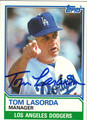 TOM LASORDA LOS ANGELES DODGERS AUTOGRAPHED VINTAGE BASEBALL CARD #82713F