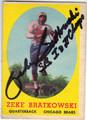 ZEKE BRATKOWSKI CHICAGO BEARS AUTOGRAPHED VINTAGE FOOTBALL CARD #90213K
