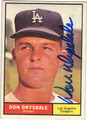 DON DRYSDALE LOS ANGELES DODGERS AUTOGRAPHED VINTAGE BASEBALL CARD #90313L