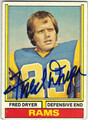 FRED DRYER LOS ANGELES RAMS AUTOGRAPHED VINTAGE FOOTBALL CARD #90913B