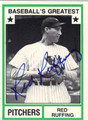 RED RUFFING AUTOGRAPHED VINTAGE BASEBALL CARD #91112F