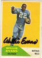 WILLIE EVANS BUFFALO BILLS AUTOGRAPHED VINTAGE FOOTBALL CARD #91213J