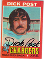 DICK POST SAN DIEGO CHARGERS AUTOGRAPHED VINTAGE FOOTBALL CARD #91413C