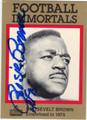 ROOSEVELT BROWN AUTOGRAPHED FOOTBALL CARD #91512J