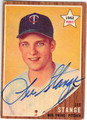 LEE STANGE MINNESOTA TWINS AUTOGRAPHED VINTAGE ROOKIE BASEBALL CARD #91513C