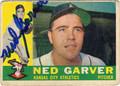 NED GARVER KANSAS CITY ATHLETICS AUTOGRAPHED VINTAGE BASEBALL CARD #92113i