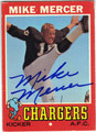 MIKE MERCER SAN DIEGO CHARGERS AUTOGRAPHED VINTAGE FOOTBALL CARD #92513L
