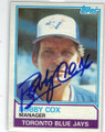 BOBBY COX TORONTO BLUE JAYS AUTOGRAPHED VINTAGE BASEBALL CARD #11914E