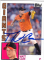 MATT CAIN SAN FRANCISCO GIANTS AUTOGRAPHED BASEBALL CARD #11914V